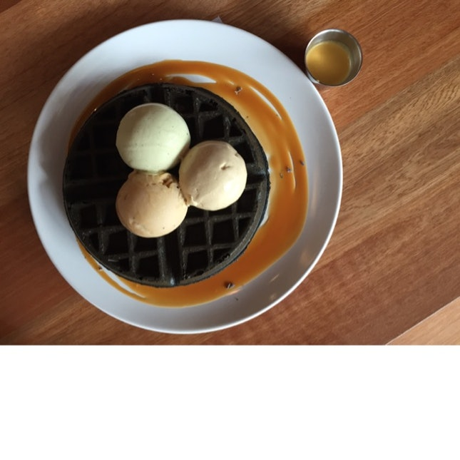 Charcoal Waffles • Ice Cream