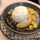 lava cookie with ice cream