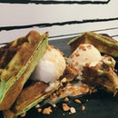 Why not have some Pandan waffle with coconut ice cream, drizzled with gula melaka?
