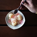 Lychee granita with crystal jelly [$4.90] Sweet and refreshing.