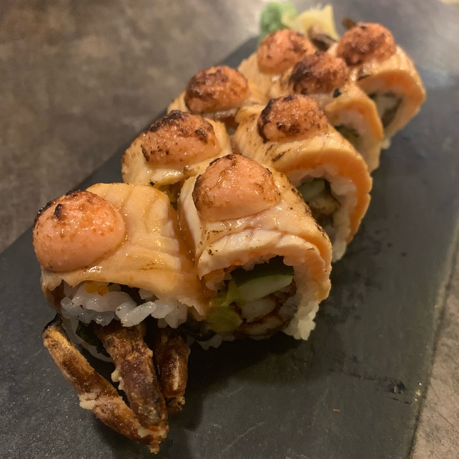 soft shell crab salmon aburi roll