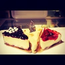 Blueberry Cheesecake, Mango & Corriander Cheesecake, Strawberry Cheesecake