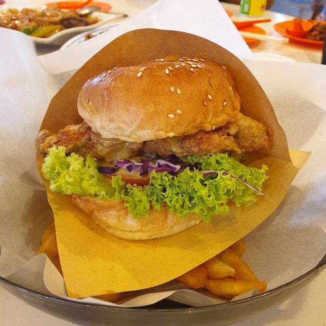 Salted Egg Chicken Burger ($10.90)