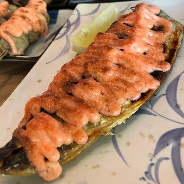 #burpple | generous serving of #mentaiko sauce on grilled #sabafish