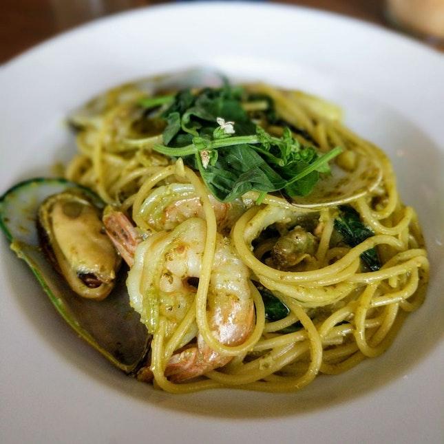 Seafood Pesto Pasta ($17)