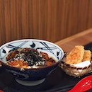 BBQ Chicken Udon @marugame_ add on with Sweet Potato tempura .