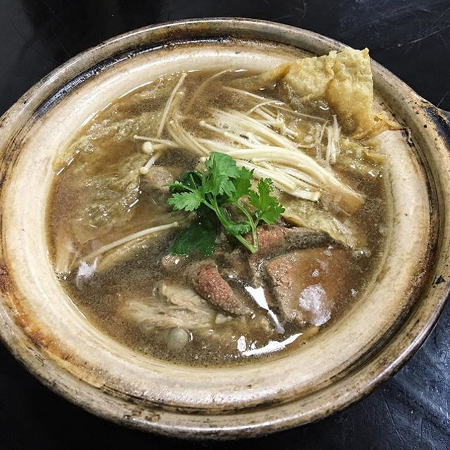 Bak Kut Teh  This pot of soup comes with plenty of ingredients, such as pork liver, beansticks and enoki mushrooms, that may not be commonly found in other variants, but in overall, the soup tasted less strong and less peppery than other places due to these additions.