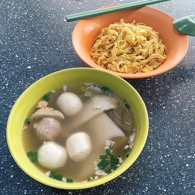 Fishball Noodles from Hui Cheow Teochew Kway Teow Mee Soup .