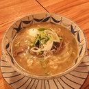 Beef Bone Soup Ramen  The noodles were springy and absorbed the taste of the thick and rich-tasting beef bone broth!