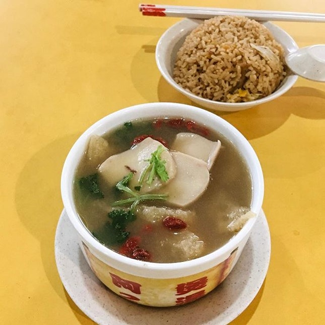 Buddha Jumps Over the Wall from Ah 2 Lao Huo Tang  The soup comes with pork ribs, vegetables pieces of abalone, fish maw, mushroom and wolfberries, which taste nourishing and fulfilling to have!