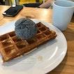 Waffles ($3.50) + Hei Sesame ($4.20)