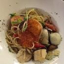 Seafood Aglio Olio With Ikura