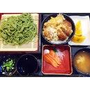 | Chasoba, Oyaku Don, Oranges, Miso Soup, Salmon Sashimi set for lunch at Ichiban Sushi yesterday!