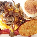 Tried out #McDonalds new Grilled Mushroom #Breakfast Platter - Grilled Mushrooms 🍄 with Sweet Onions, Sausage Patty, Cheese Melted on Eggs 🧀🍳, Bacon 🦃, Breakfast Muffin 🍔 & Hashbrown 🍴Yesterday's breakfast with thy love before he started work!