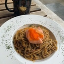 Crab Meat Aglio Olio and Eternal Garden Hot Tea