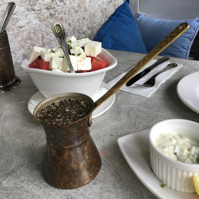 5 Herb Tea & Watermelon Salad
