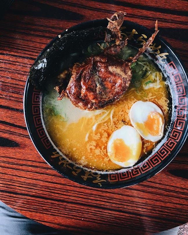 cannot imagine eating tonkotsu + salted egg ramen!