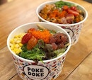 Poke Bowl ($14.80) ⭐️ 4.5/5 ⭐️ 🍴The medium size bowl comes with 2 scoops of poke, 4 sides and lots of fresh vegetables.