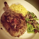 all bout #cooking #dinner #steak #corn #asparagus #mushrooms #beef #mint #mustard #instafood #foodporn #instacook