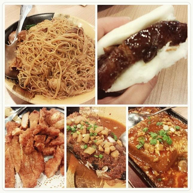 pig trotters noodles, kong bak pau, pork cutlet, hotplate tofu, spicy bean paste fish head.