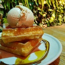 Waffles with Sea Salt Gula Melaka Ice Cream