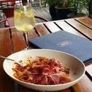 《White Sangria + Extra Iberico Ham with Arrabbiata》This is how Sunday should be spent.