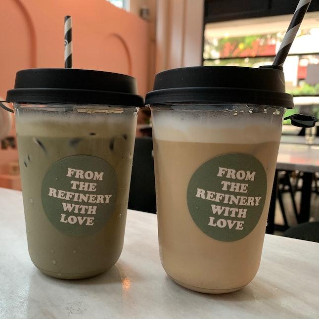 Iced White Coffee & Iced Hojicha Multigrain Latte