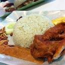 Nasi Lemak fav combi - crispy wings, otah & eggs #sgfood