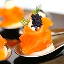 Hickory Smoked Salmon with Caviar Cream served on Dill Potato from Chihuly Lounge, The Ritz Carlton Millenia Singapore.