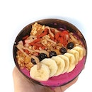A Pitaya bowl, which they call the Tuki, with dragonfruit, pineapple, banana, almond butter and coconut water.