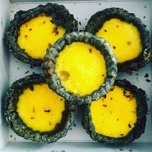 Charcoal egg tarts.