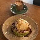 Pandan Pancake With Coconut Ice Cream