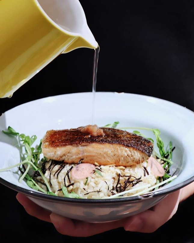 The one dish that particularly stood out besides the Tamago Sando was probably this Salmon Ochazuke ($16).