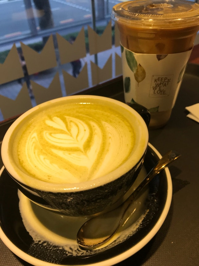 Matcha Latte $6 & Caffe Latte (Iced)$6.60
