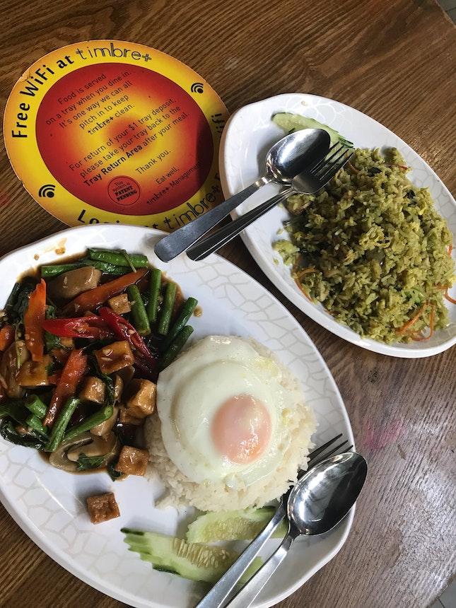Green Curry Fried Rice Chicken $6 & Basil Leaf Mushroom Tofu $6