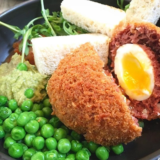 No one can fault corn beef hash, scotch eggs and baby peas!