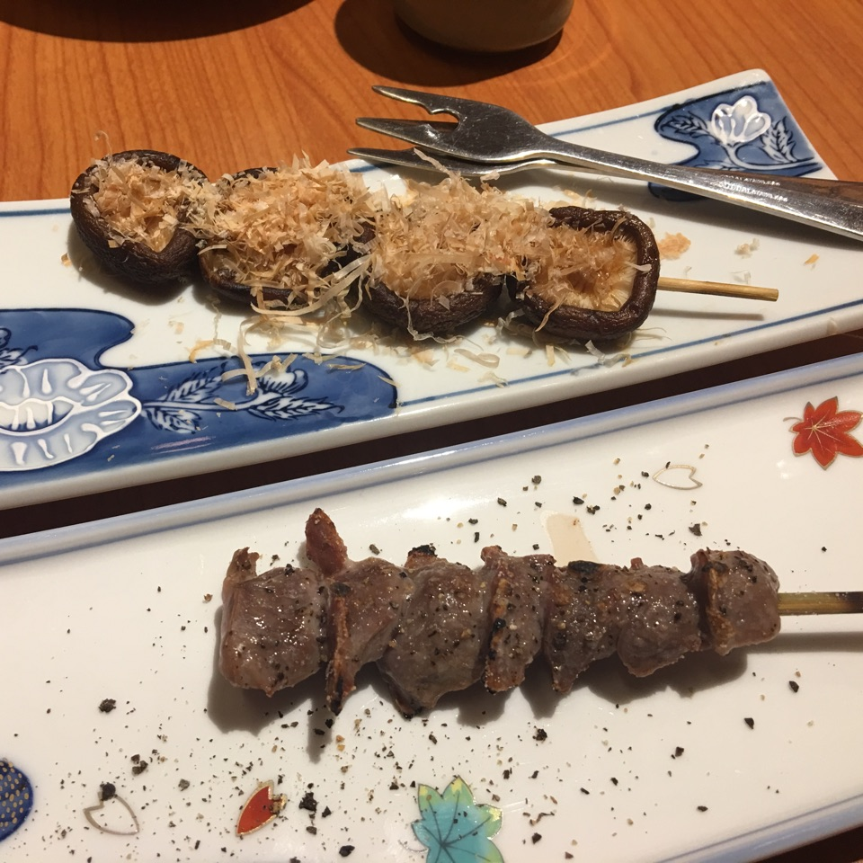 Shiitake Mushrooms And Chicken Gizzard Yakitori