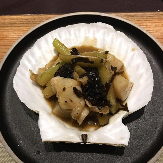 Hotate scallop, shio Konbu butter, chayote(guard) and lime.