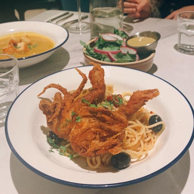 Spaghetti Aglio Olio With Soft Shell Crab