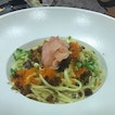 With the star of the night - Bacon century egg linguine!
