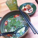 Chicken Pho lunch set with Lotus Tea.
