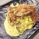 Mum's Salted Egg Soft-Shell Crab ($16.90) Crispy soft-shell crab atop pasta tossed in creamy salted egg yolk sauce and broccoli.
