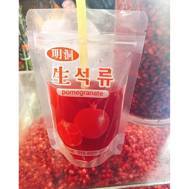 Pomegranate Fruit Juice (5,000 Won) From a street stall.