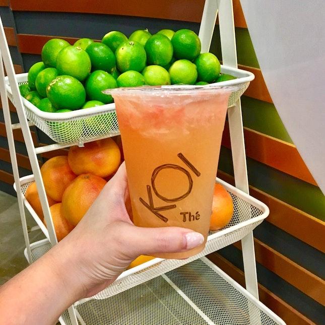 Grapefruit Green Tea With Konjac ($4.30)
