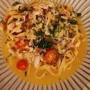Crab Meat Pasta In White Sauce