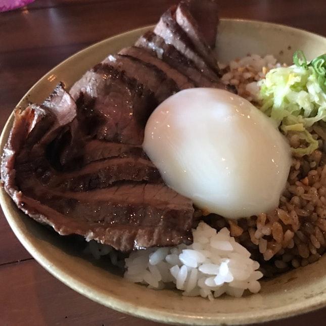 Egg, Steak and Rice