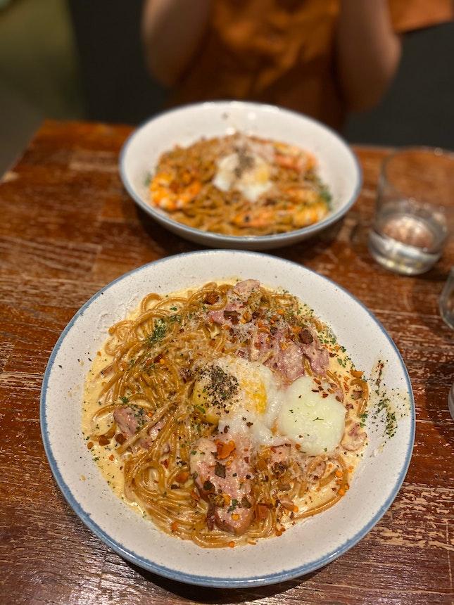 Crazy Carbonara with Paprika Spaghettini [$15.90++]