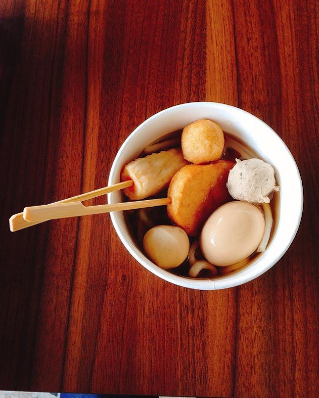 Familymart Oden with udon 🍜  The hardboiled egg was delicious with a semi-solid golden yolk.