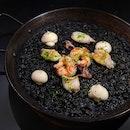 Black Mediterranean Squid Ink with Prawns & Squid Paella ($28++)