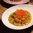 Tagliolini, sea urchin cream, tobiko and chives ($35++)